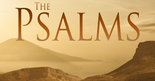 Text 'The Psalms' with a hilly landscape in the background.